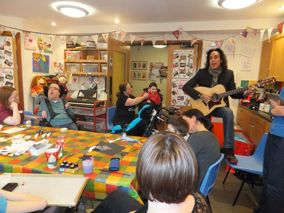 Marco visiting a children's hospice in Liverpool, England.